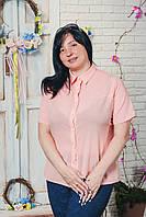 Блуза женская шифон больших размеров персик