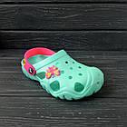 Бирюзовые кроксы для девочек, р 28/29, 30/31, 34/35 Мята с розовым подростковые детские шлепанцы, фото 4