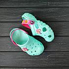 Бирюзовые кроксы для девочек, р 28/29, 30/31, 34/35 Мята с розовым подростковые детские шлепанцы, фото 8