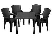 Комплект садовый King + 4 кресло Eden антрацит