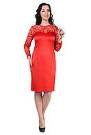 Красивое женское платье красного цвета из стрейч-сатина