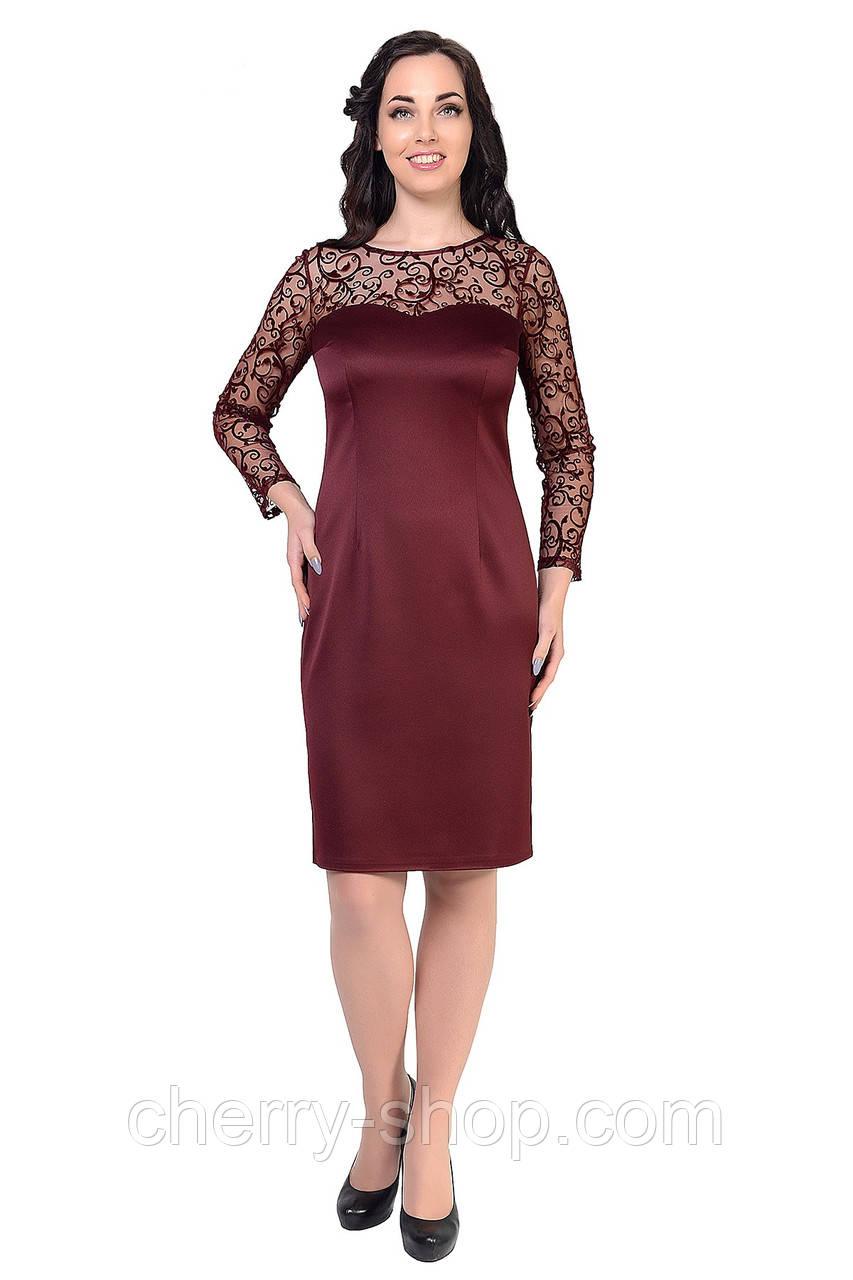 Бордовое элегантное платье женское
