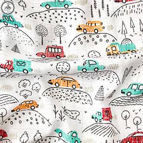 """Ткань хлопковая, муслин однослойный """"машинки разноцветные в лесу на белом"""", фото 2"""
