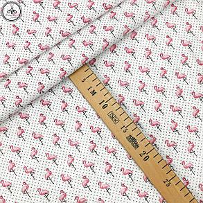 """Ткань хлопковая, муслин однослойный """"фламинго мелкие с точками на белом"""", фото 2"""