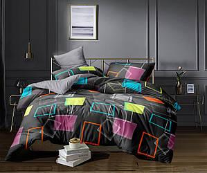 Полуторный комплект постельного белья «Яркие квадраты» 147х217 см из сатина,однокомпонентный (50х70)