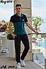 Мужской молодежный летний спортивный костюм: штаны и футболка поло, реплика Найк, фото 5