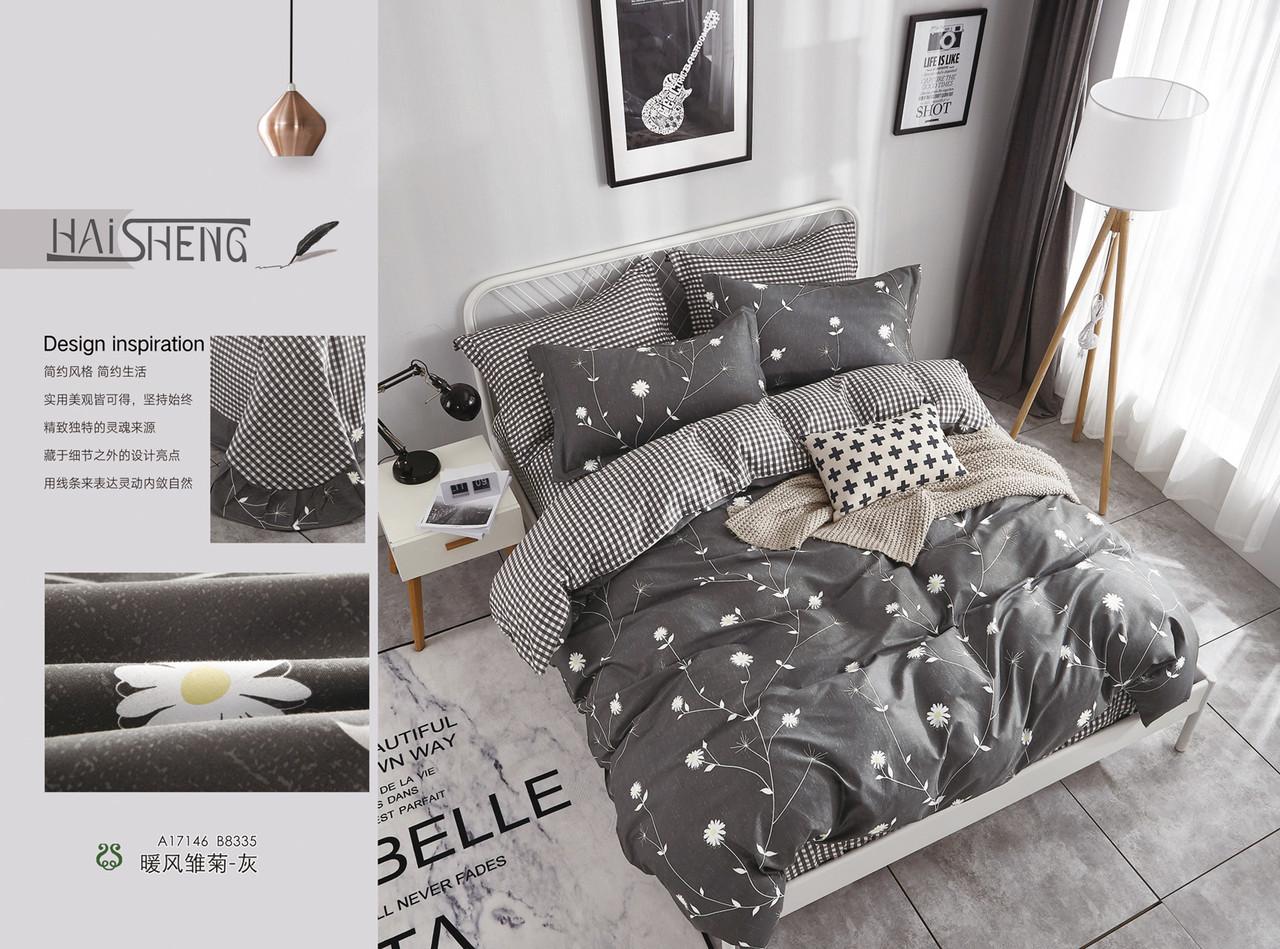 """Полуторный комплект постельного белья 147х217 из сатина """"Серые цветы"""",однокомпонентный"""