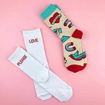 Носки LOVE - ЛЮБОВЬ разнопарные с рисунком, Длинные, Сердечко, Женские Шкарпетки жіночі, фото 2