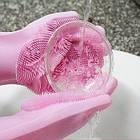 Силиконовые многофункциональные перчатки для мытья и чистки Magic Silicone Glov Розовый, фото 5