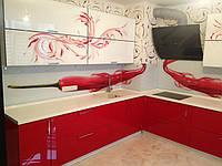 Кухня с фото печатью, стеклянные фасады