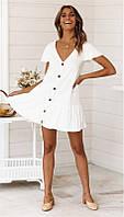 Женская пляжная хлопковая туника белого цвета, фото 1