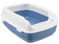 TRIXIE (Трикси) DELIO - туалет для кошек с высоким бортиком (35х20х48 см), синий / белый