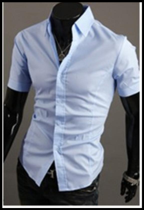 Рубашка голубая мужская  классическая M-XXL код 59