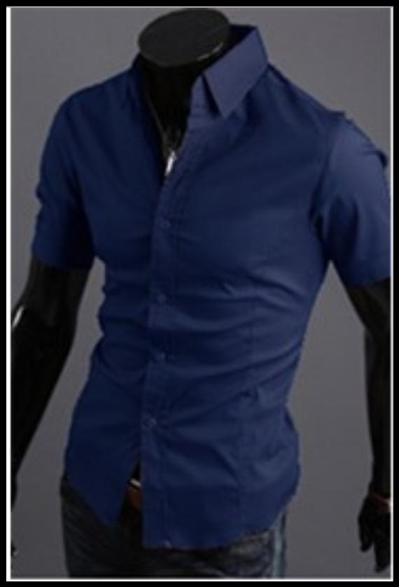 Рубашка синяя мужская  классическая M-XXL код 59