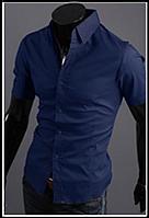 Рубашка синяя мужская  классическая M-XXL код 59, фото 1