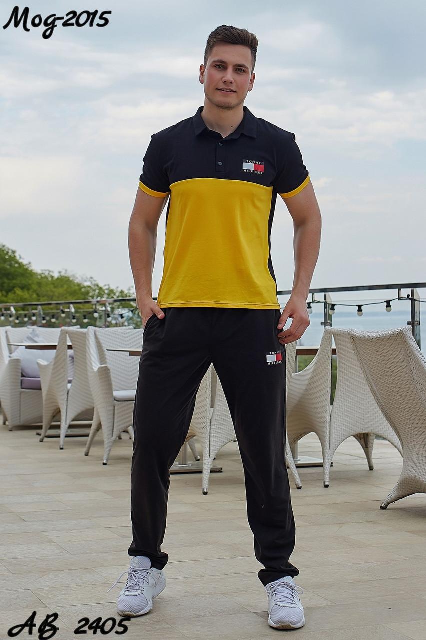 Мужской молодежный летний спортивный костюм: штаны и футболка поло, реплика Tommy Hilfiger
