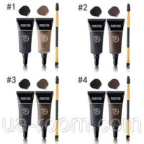 Набор водостойких гелей для бровей с кисточкой Ministar Eyebrow Gel 24 Hours №16135, фото 2