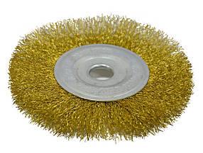 Щетка крацовка дисковая Spitce по металлу латунная 150 х 22.2 мм (18-054)