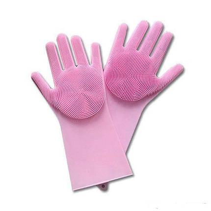 Силиконовые многофункциональные перчатки для мытья и чистки Magic Silicone Glov Розовый, фото 2