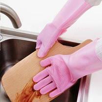 Силиконовые многофункциональные перчатки для мытья и чистки Magic Silicone Glov Розовый, фото 3
