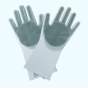 Силіконові багатофункціональні рукавички для миття та чищення Silicone Magic Glov Сірий, фото 2