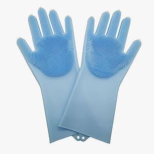Силиконовые многофункциональные перчатки для мытья и чистки Magic Silicone Glov Синий, фото 2