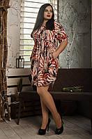 Повседневное летнее платье, размер 52,54,56,58 оранжевые листья, фото 1