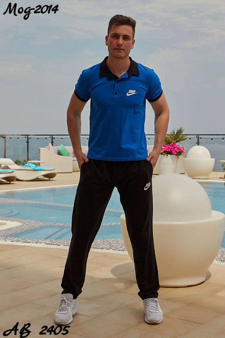 Мужской молодежный летний спортивный костюм: штаны и футболка поло, реплика Найк