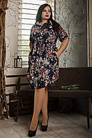 Повседневное летнее платье, размер 52,54,56,58 на синем фоне цветы, фото 1