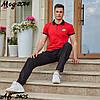 Мужской молодежный летний спортивный костюм: штаны и футболка поло, реплика Найк, фото 3