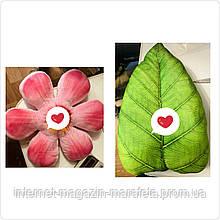 Декоративная подушка цветок, листик оптом