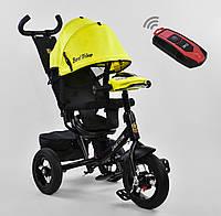 Детский трёхколёсный велосипед 7700 В - 7210 Best Trike Желтый, поворотное сиденье, фара, с ручкой