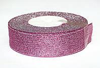 Лента парчовая сиреневая с серебром, 25 мм.