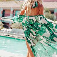 Накидка пляжная шифоновая с тропическим принтом Банановые листья. Халат с длинным рукавом на пляж