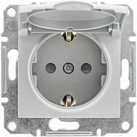 Механизм розетки алюминий с крышкой, заземлением и защитными шторками IP20 SDN3100160 Schneider Electric Sedna