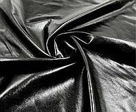Экокожа на трикотаже - цвет черный