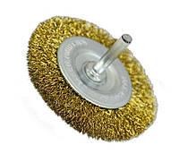 Щетка крацовка дисковая Spitce латунная со шпилькой 100 х 6 мм (18-062)