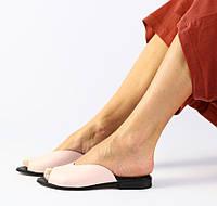 Модные женские кожаные шлепанцы шлепки сабо на низком ходу на квадратном каблуке пудра SE66FN07-2IR