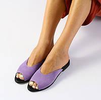 Модные женские замшевыешлепанцы шлепки сабо на низком ходу на квадратном каблуке лиловые EN66SR07-1VI