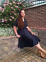Элегантное летнее женское платье темно-синее