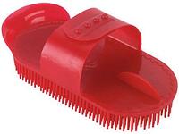 Скребок - щетка пластиковая для купания лошадей, красная KERBL (Германия)