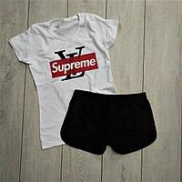 Женский костюм футболка шорты комплект LV Supreme белая с черным. Живое фото