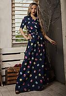 Длинное летнее платье, размер 42,44,46,48 синее, фото 1