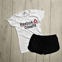 Женский костюм футболка шорты комплект Reebok белый с черным. Живое фото