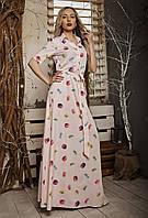 Длинное летнее платье, размер 42,44,46,48 розовое, фото 1
