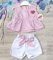 Летний костюмчик Lolix для девочек на рост 74/80/92  см розовый  (Турция)