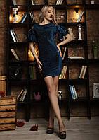 Стильное мини платье, размер 46,48 синее, фото 1