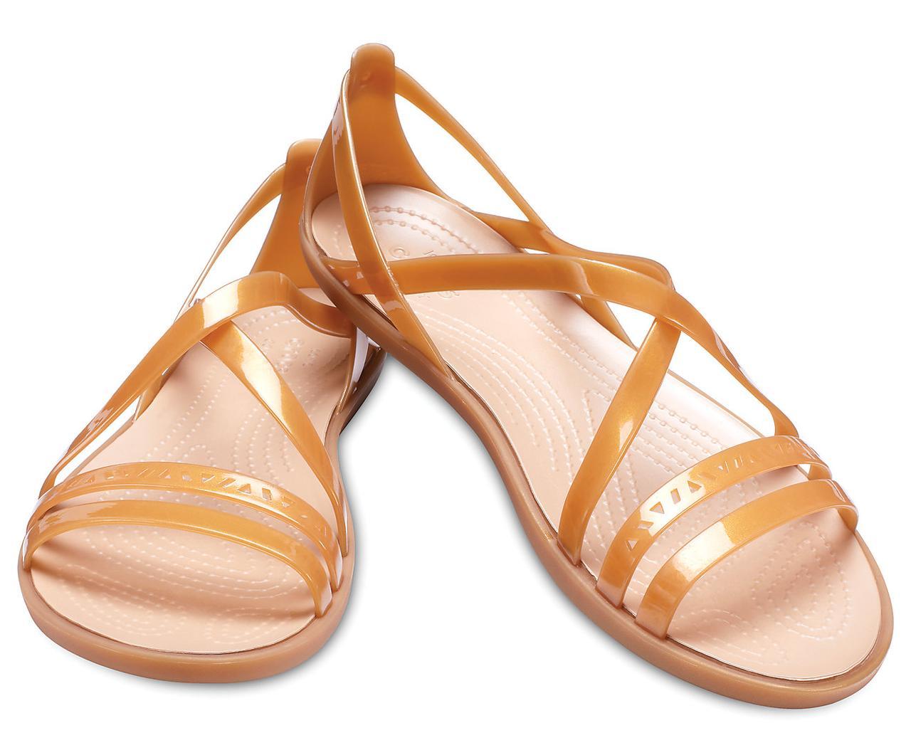 Босоножки женские балетки Крокс Изабелла оригинал / Crocs Women's Isabella Strappy Sandal (205149), Золотистые