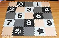 Коврик-пазл с крупными цифрами (серый, бежевый, белый, черный) 150*150 см