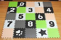 Коврик-пазл с крупными цифрами (салатовый, бежевый, серый, белый, черный) 150*150 см